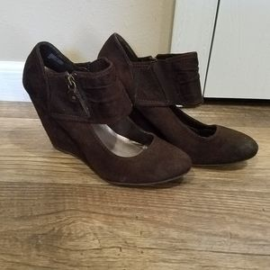 Bakers Brown Suede Wedges